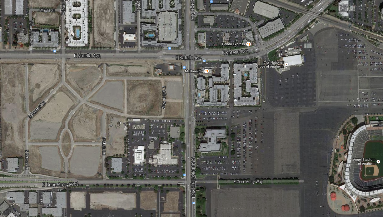 "MISSING THE MARK: Anaheim's ""A-Town"" has sat empty for almost 7 years. The project has since been scaled back to more of your cookie-cutter townhouse development."